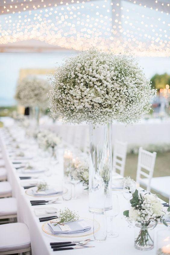 dekoracja sali weselnej z gipsówką